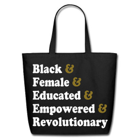 Traits of the Black Woman Natural Cotton Canvas Tote - Black