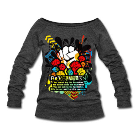 Revolution Black Power Fist Off Slouchy Off-Shoulder Wide Neck Sweatshirt - Dark Gray