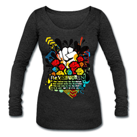 Revolution Black Power Fist Womens Tri-Blend Long Sleeve T-Shirt - Dark Gray - Akili Kabibe Apparel