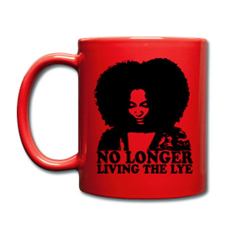 No Longer Living The Lye Red Ceramic Coffee Mug - Akili Kabibe Apparel