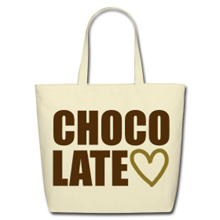 Chocolate Love Metallic Heart Natural Cotton Canvas Tote - Biege