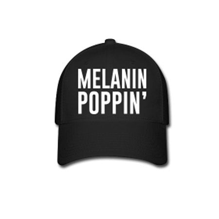 Melanin Poppin' Flex Fit Baseball Cap - Black - Akili Kabibe Apparel