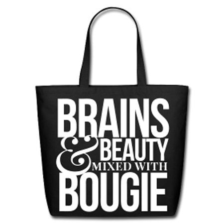 Brains & Beauty Mixed With Bougie Natural Cotton Canvas Tote - Black - Akili Kabibe Apparel
