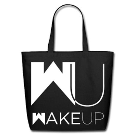 Wake Up / Stay Woke Natural Cotton Canvas Tote - Black/White Lettering - Akili Kabibe Apparel
