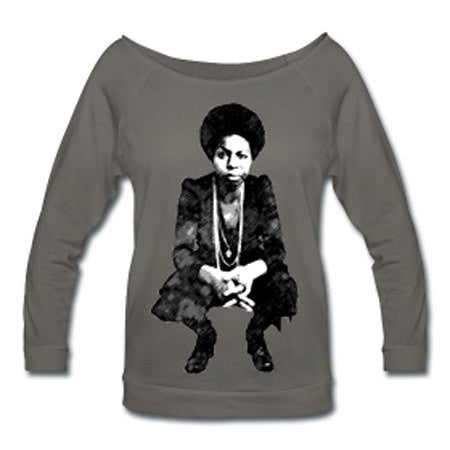Nina Simone Off Shoulder T-shirt - Dark Gray - Akili Kabibe Apparel