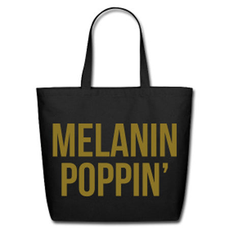 Melanin Poppin' Natural Cotton Canvas Tote - Black/Metallic Gold Lettering