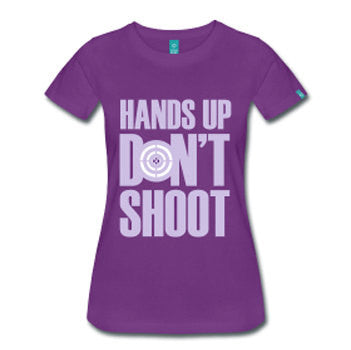 Hands Up Don't Shoot Women's Fitted T-Shirt - Purple - Akili Kabibe Apparel