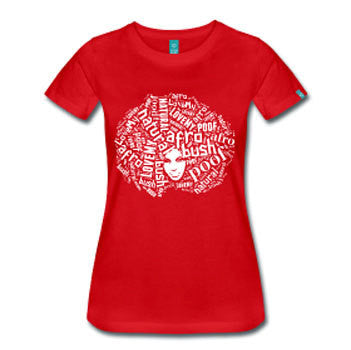I Love My Afro Poof Natural Hair Women's Fitted T-shirt - Red - Akili Kabibe Apparel