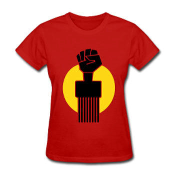 Soul Pick Black Fist Afro Natural Hair Women's Relaxed Fit T-shirt - Red - Akili Kabibe Apparel