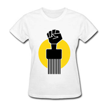 Soul Pick Black Fist Afro Natural Hair Women's Relaxed Fit T-shirt - White - Akili Kabibe Apparel