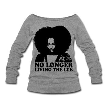No Longer Living the Lye Natural Hair Wide Neck Off Shoulder Slouchy Women's Sweatshirt -Gray