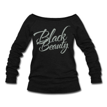 Black Beauty Wide Neck Off Shoulder Slouchy Women's Sweatshirt - Black