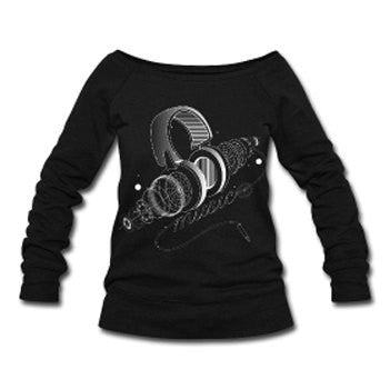 Headphones & Music Wide Neck Off Shoulder Slouchy Women's Sweatshirt - Black - Akili Kabibe Apparel