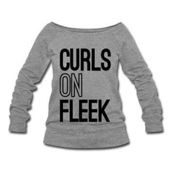 Curls on Fleek Wide Neck Off Shoulder Slouchy Women's Sweatshirt - Gray