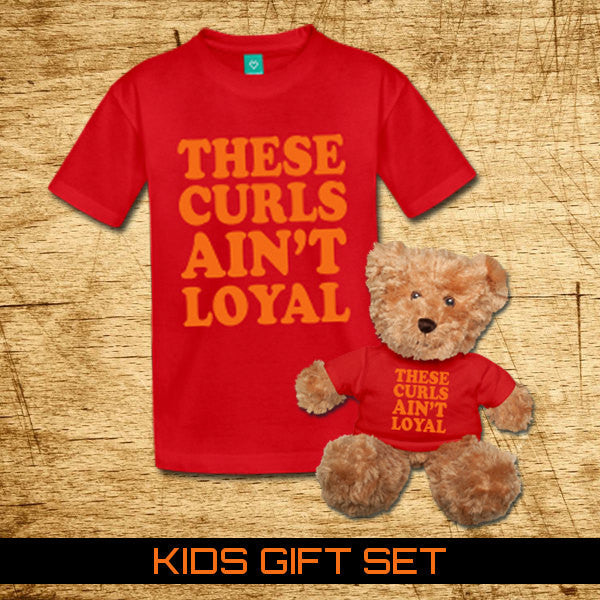 These Curls Ain't Loyal Kids and Toddlers Red T-shirt & Matching Bear Gift Set - Akili Kabibe Apparel