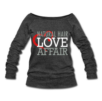 Natural Hair Love Affair Velvet Lettering Slouchy Wideneck Women's Sweatshirt - Dark Gray - Akili Kabibe Apparel