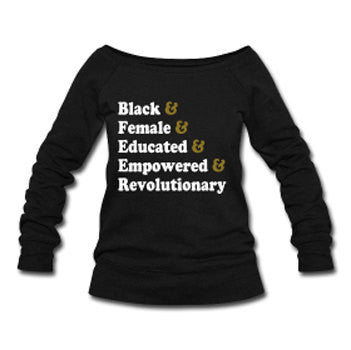 Traits of the Modern Black Woman Wide Neck Off Shoulder Slouchy Women's Sweatshirt -Black - Akili Kabibe Apparel