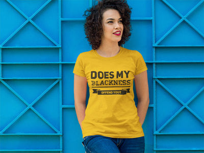 Does My Blackness Offend You? Women's Fitted T-Shirt - Yellow