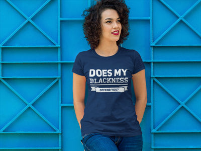 Does My Blackness Offend You? Women's Fitted T-Shirt - Navy Blue - Akili Kabibe Apparel
