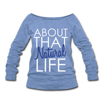 About that Natural Life Natural Hair Women's Off-Shoulder Slouchy Sweatshirt - Blue