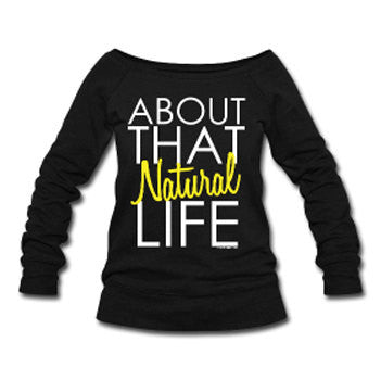 About that Natural Life Wide Neck Off Shoulder Slouchy Women's Sweatshirt - Black