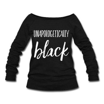 Unapologetically Black Wide Neck Off Shoulder Slouchy Women's Sweatshirt - Black - Akili Kabibe Apparel