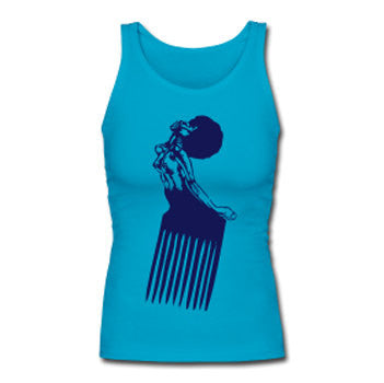 Afro Pick Retro Women's Premium Tank Top - Teal