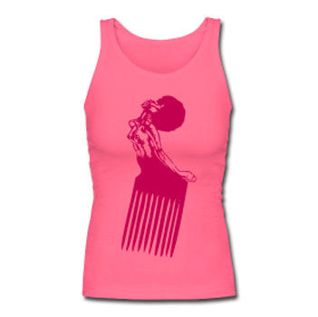 Afro Pick Retro Women's Premium Tank Top - Pink