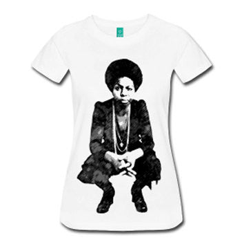Young Nina Simone Women's Fitted T-Shirt - White - Akili Kabibe Apparel