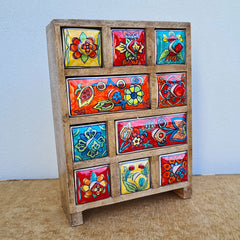 Multi Colour 10 Drawer Box - Extra Large