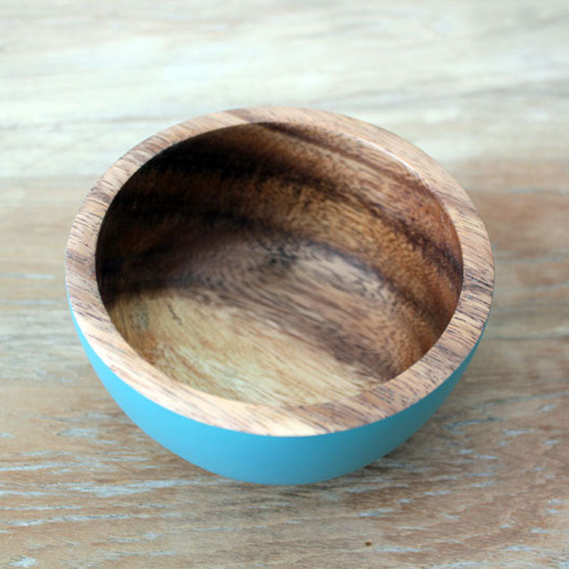 Handcrafted Acacia Wood Bowl Blue - 11cm - The Chic Nest