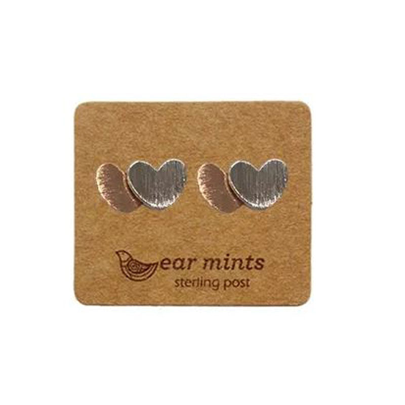 Brushed Metal 2 Tone Heart Ear Mints Earrings - Rose Gold
