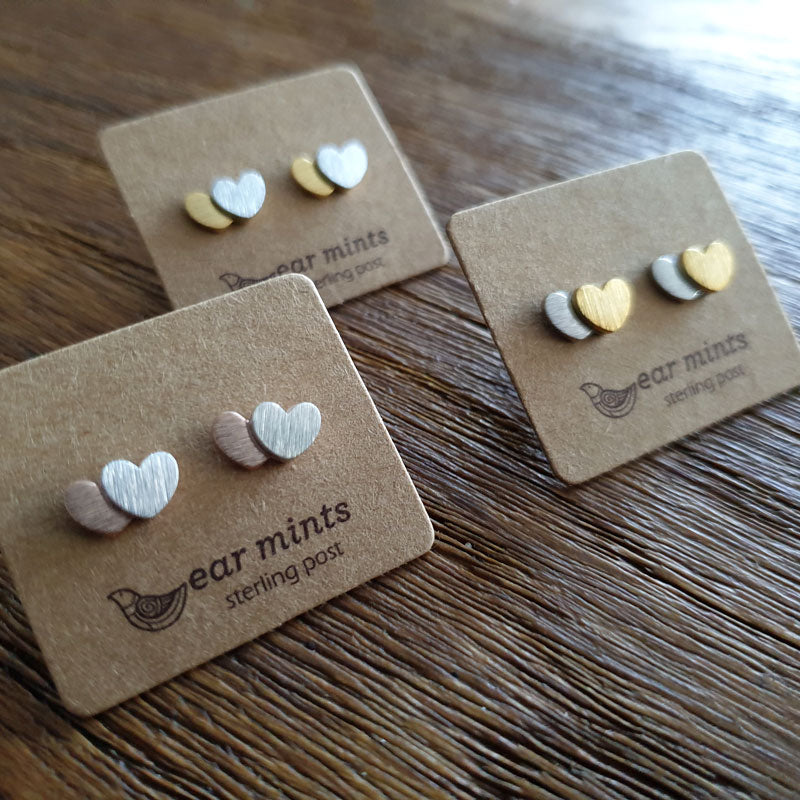 Brushed Metal 2 Tone Heart Ear Mints Earrings - Gold