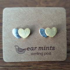 Brushed Metal 2 Tone Heart Ear Mints Earrings - Silver
