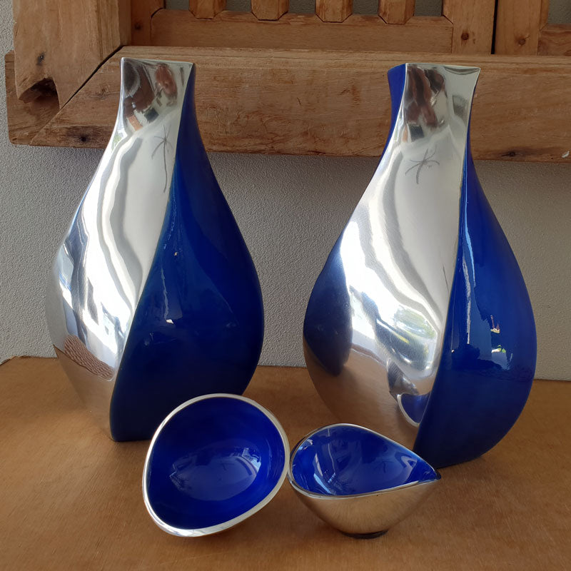 Blue & Silver Swirl Vase - The Chic Nest