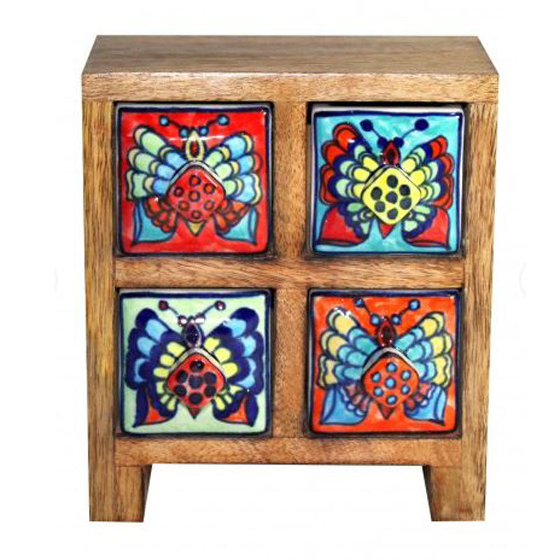 Multi Colour 4 Drawer Box - Butterfly Design