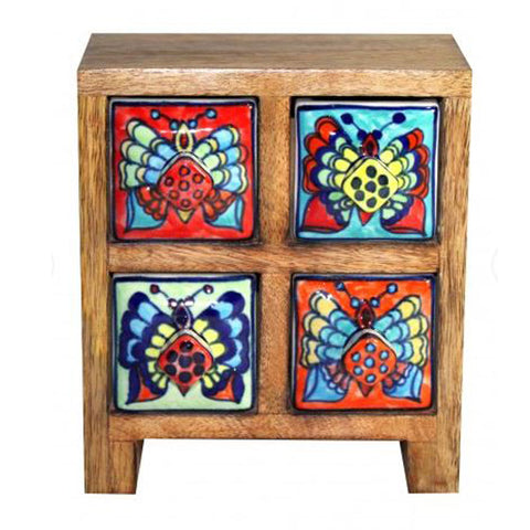Multi Colour 4 Drawer Box - Butterfly Design - The Chic Nest
