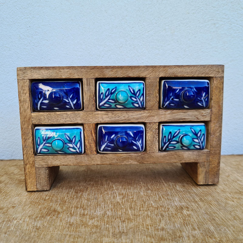 Blue 6 Drawer Box