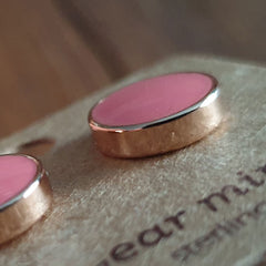 Round Living Coral Ear Mints Earrings - Rose Gold