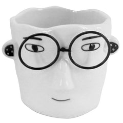 Man With Metal Glasses Mini Planter
