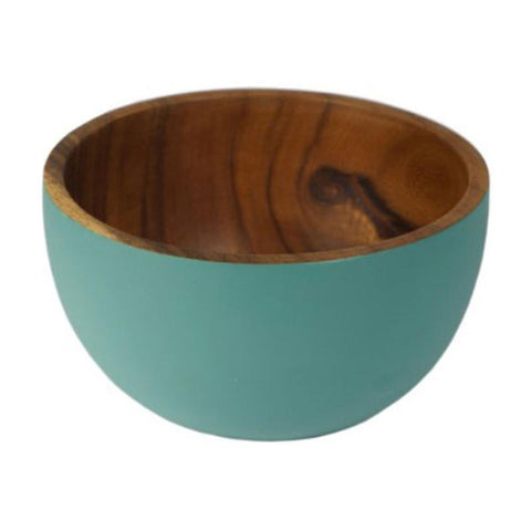 Handcrafted Acacia Wood Bowl Blue - 16.5cm - The Chic Nest