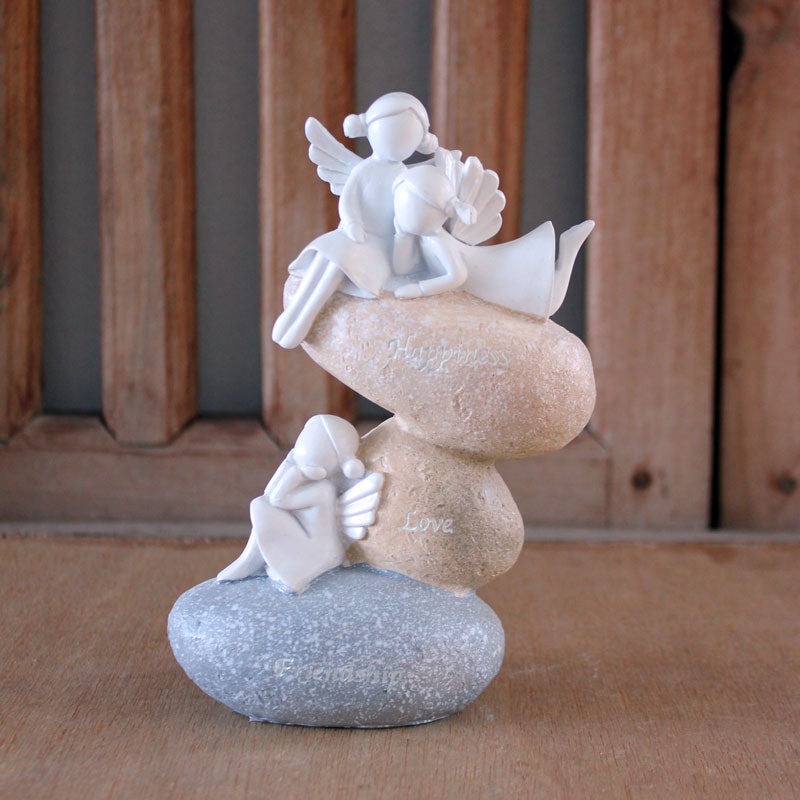 Angel Girls On Rock Figurine - The Chic Nest