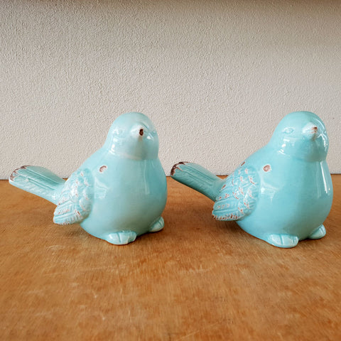 Antiqued Ceramic Aqua Bird - The Chic Nest