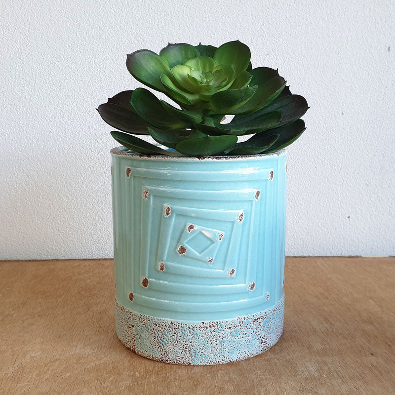 Aqua Antique Style Ceramic Planter Pot - The Chic Nest