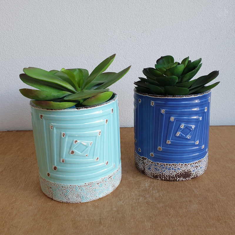 Navy Antique Style Ceramic Planter Pot - The Chic Nest
