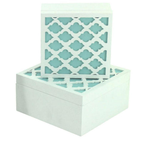 Aqua Moroccan Set of 2 Boxes - The Chic Nest