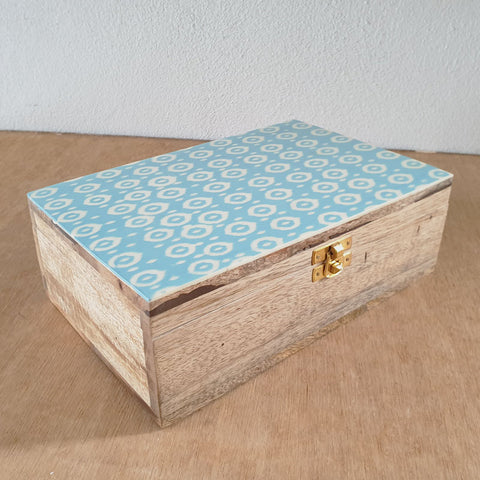 Handmade Box- Patterned Aqua Bone Inlay