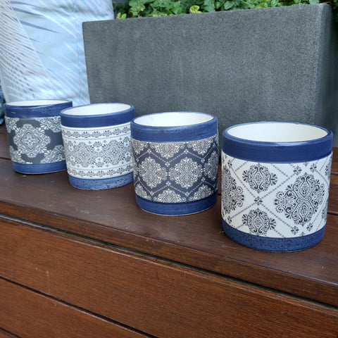 Aubrey Blue Patterned Planter (B)