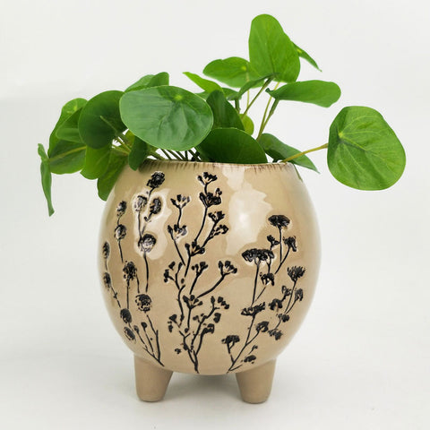 Aubrey Ceramic Planter Pot With Legs - Large