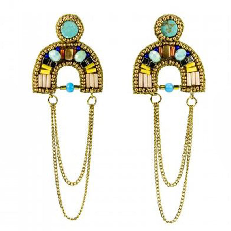 Hand Beaded Brass Drop Earrings - The Chic Nest